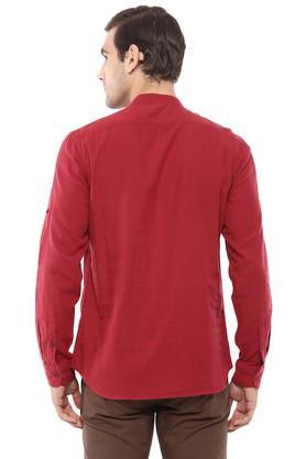 Mens Regular Fit Band Collar Solid Casual Shirt