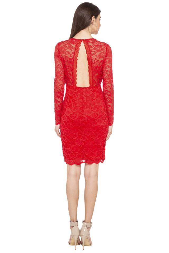 Womens V Neck Lace Bodycon Dress