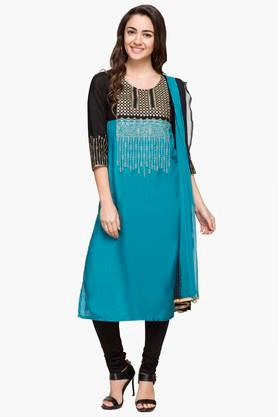IMARA Womens Round Neck Colour Block Churidar Suit - 203080174