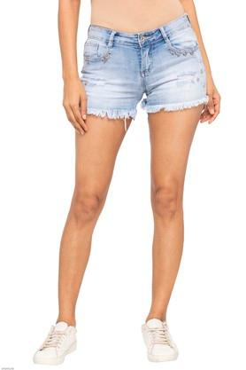 Womens 5 Pocket Heavy Wash Shorts