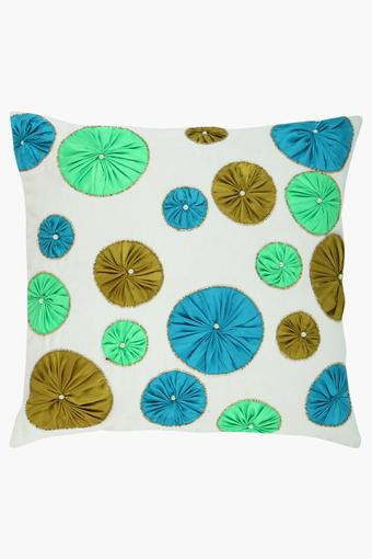 Square Corsage Embellished Cushion Cover
