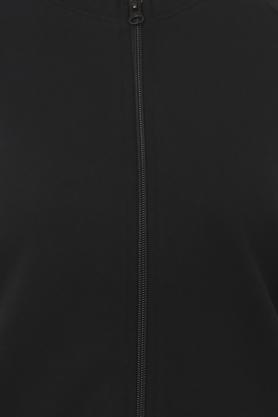 Womens Zip through Neck Solid Sweatshirt