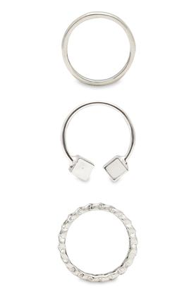 Womens Silver Plated Rings Set of 3