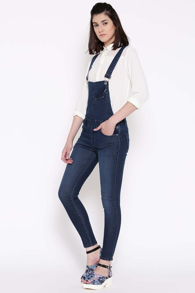 Womens 4 Pocket Washed Dungarees