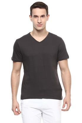 Mens V-Neck Solid T-Shirt