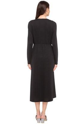 Womens Surplice Neck Slub Midi Dress
