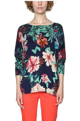 DESIGUAL Womens Round Neck Floral Print Pullover
