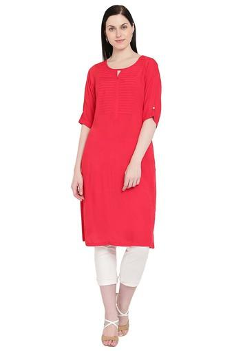 Womens Key Hole Neck Pintuck Solid Kurta