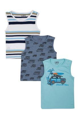 Boys Round Neck Printed and Striped Sando - Pack of 3