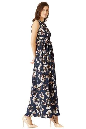 Womens Round Neck Floral Print Belted Maxi Dress