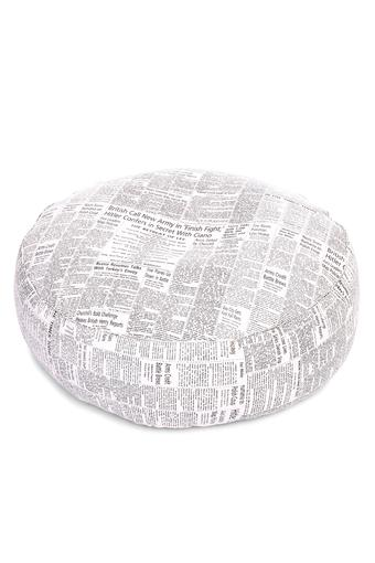Canvas Newspaper Printed Round Floor Cushion XL Size with Fillers