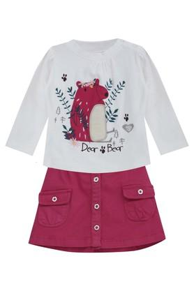 Girls Round Neck Assorted Top and Solid Skirt