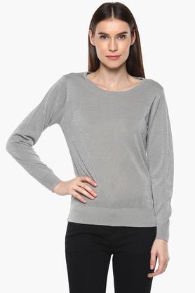 VAN HEUSENWomens Round Neck Shimmer Pullover