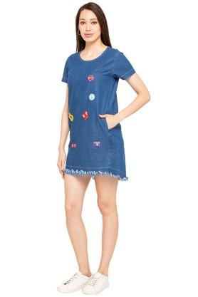 Womens Round Neck Assorted Applique Shift Dress