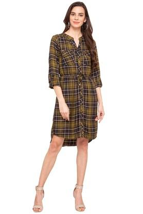 Womens Mandarin Collar Checked Shirt Dress
