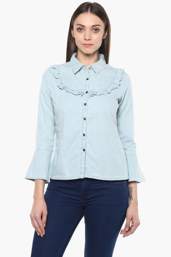 Womens Collared Assorted Ruffled Shirt