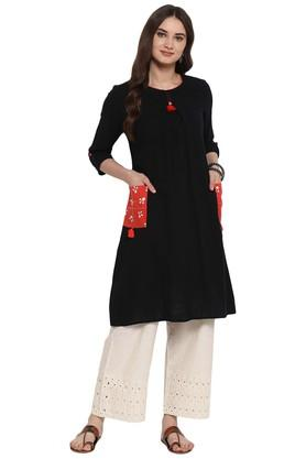 JUNIPER Womens Pleated A-Line Kurta With Functional Pockets - 204323798_8688