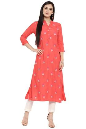 JUNIPER Womens Zari Embroidered Kurta With Pant - 204323763_9601