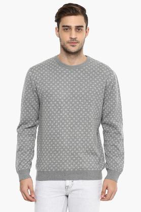 WILLS LIFESTYLEMens Round Neck Printed Sweater