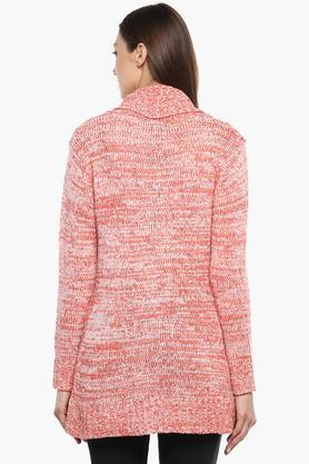 Womens Notched Lapel Slub Sweater
