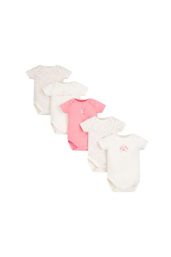 Girls Envelope Neck Printed Babysuits - Pack Of 5