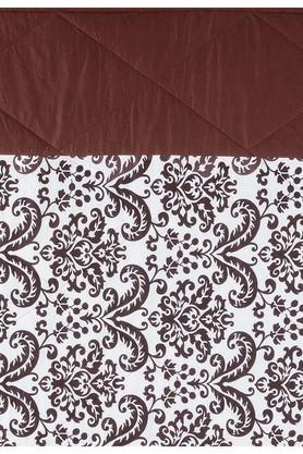 Brown and Off White Floral Double AC Comfortor