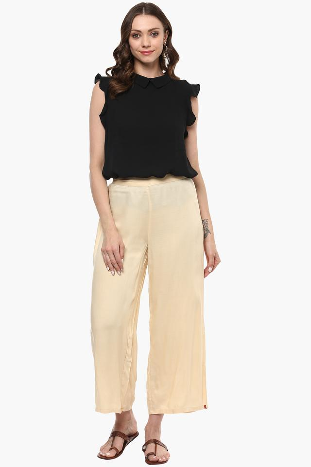 Womens Solid Casual Palazzo