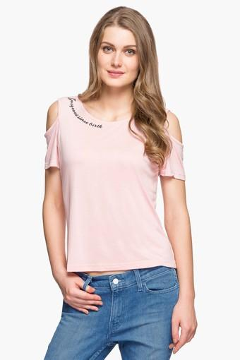 bf6f9536cb2b96 Buy LIFE Womens Round Neck Cold Shoulder Solid Top | Shoppers Stop