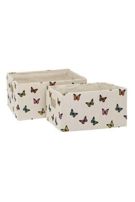 BACK TO EARTH Rectangular Printed Basket - Set Of 2