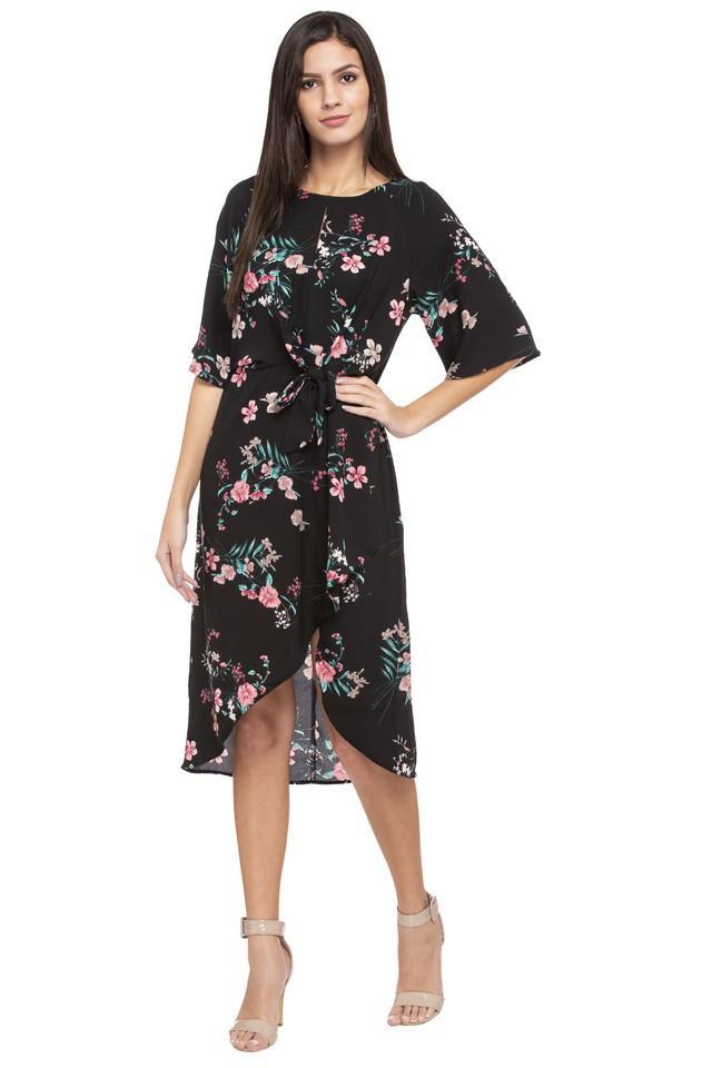 Womens Round Neck Floral Wrap Dress