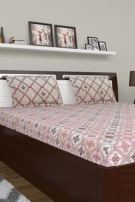 Ethnic Printed Large Bed Sheet with Pillow Cover