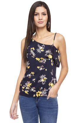 Womens One Shoulder Neck Floral Print Top