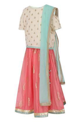 Girls Round Neck Embellished Ghaghra Choli Dupatta Set