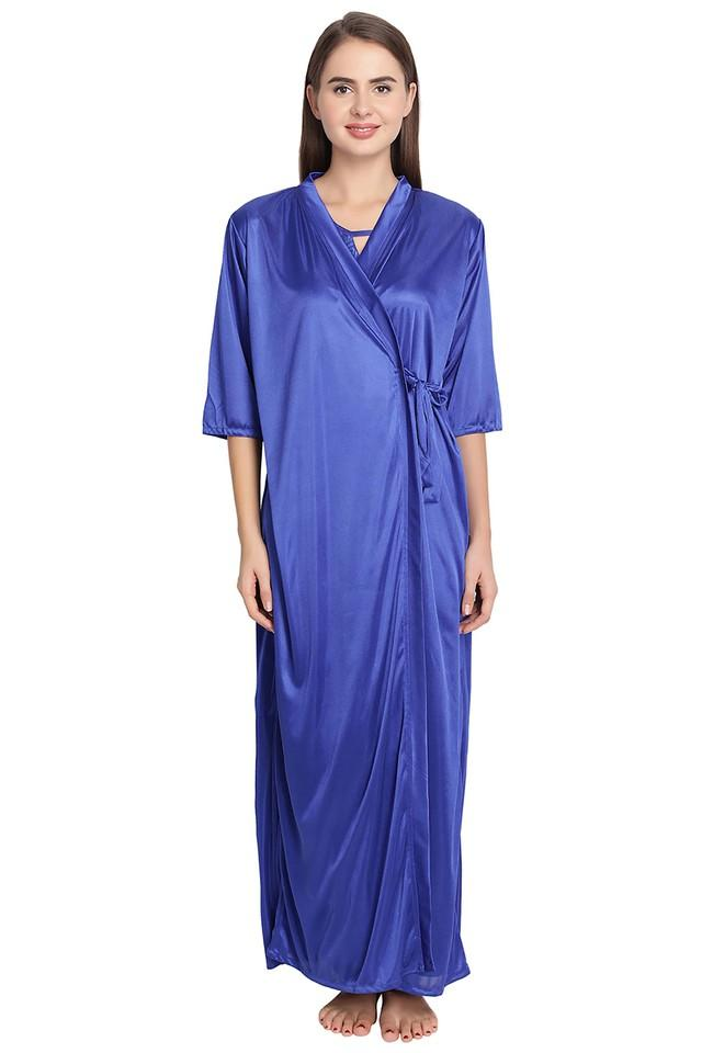Womens Solid Robe with Night Dress