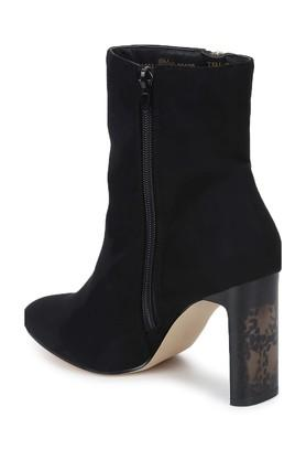 Womens Zip Closure Slim Block Heeled Ankle Boots
