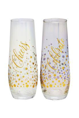 Round Cheers and Celebrate Printed Glasses Set of 2