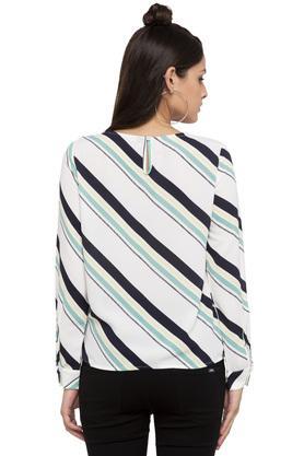 Womens Round Neck Stripe Tie Up Top