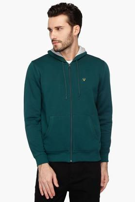 ALLEN SOLLY Mens Slim Fit Hooded Solid Sweatshirt