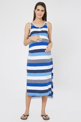 3819cc7ada0 X MYSTERE PARIS Maternity Round Neck Striped Maternity Dress