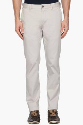 Mens Slim Fit Solid Trousers