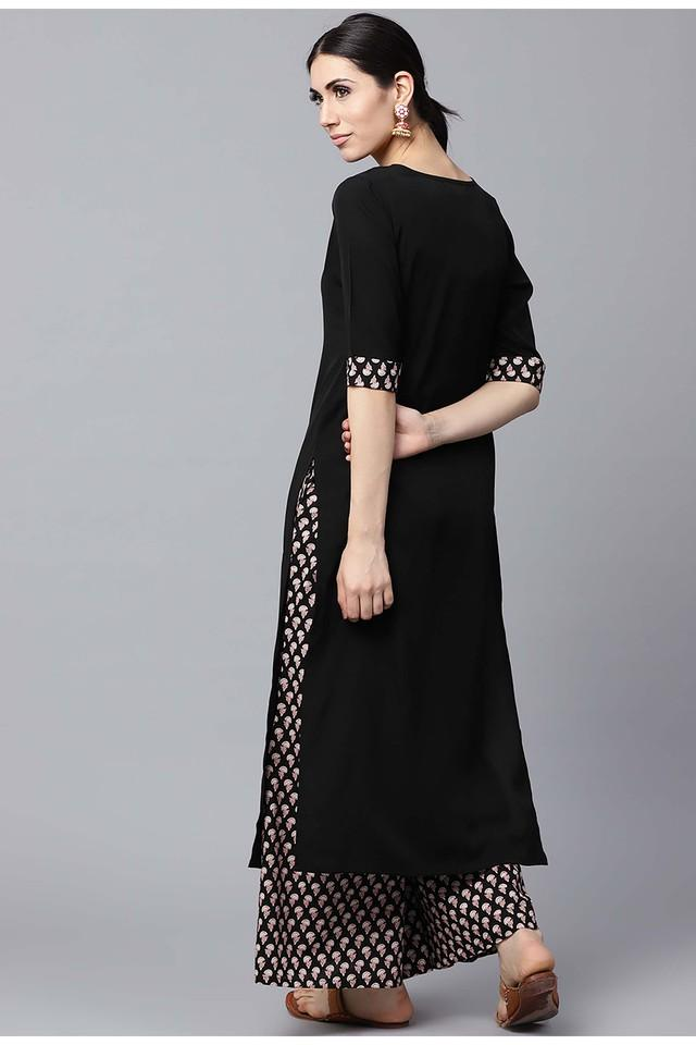 Women Crepe Solid Straight Kurta With Cotton Printed Palazzo