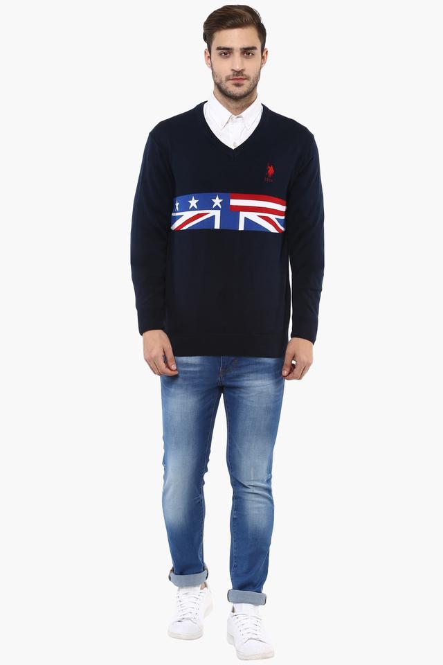 Mens V- Neck Printed Sweater