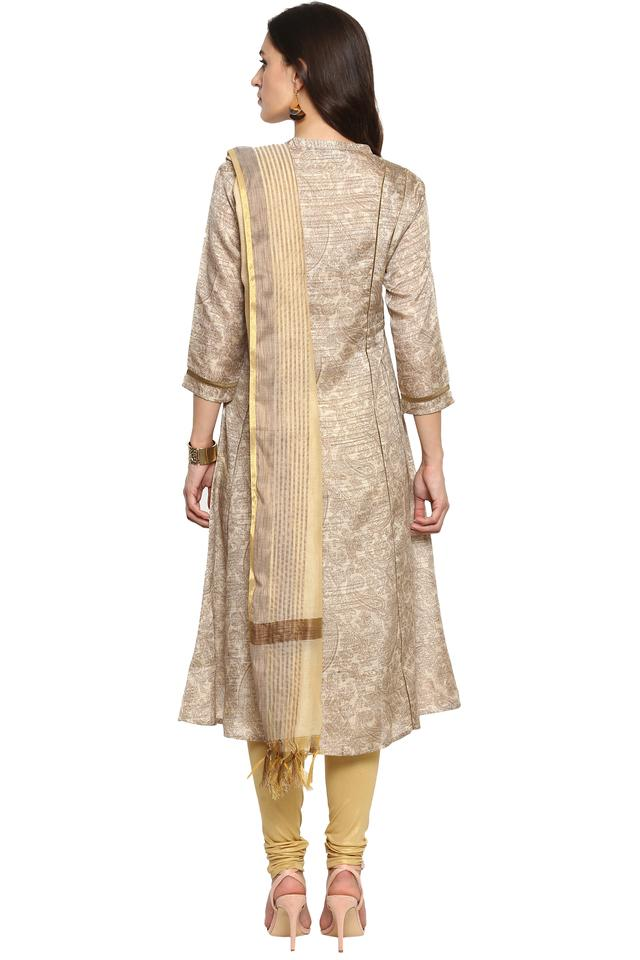 Womens Mandarin Collar Paisley Churidar Suit