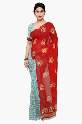 DEMARCA Womens Faux Georgette Printed Saree - 203229598