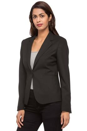 Women Notched Lapel Solid Blazer