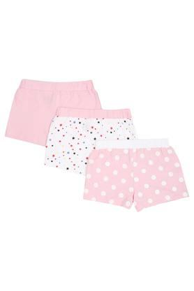 Girls Solid Printed and Dot Pattern Shorts - Pack of 3