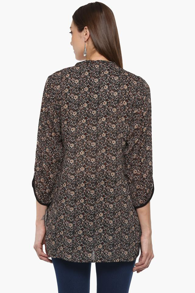 Womens Mandarin Neck Printed Tunic