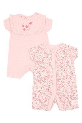 Girls Round Neck Floral Print and Dot Pattern Romper - Pack Of 2