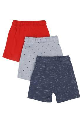 Boys 2 Pocket Solid and Printed Shorts - Pack Of 3