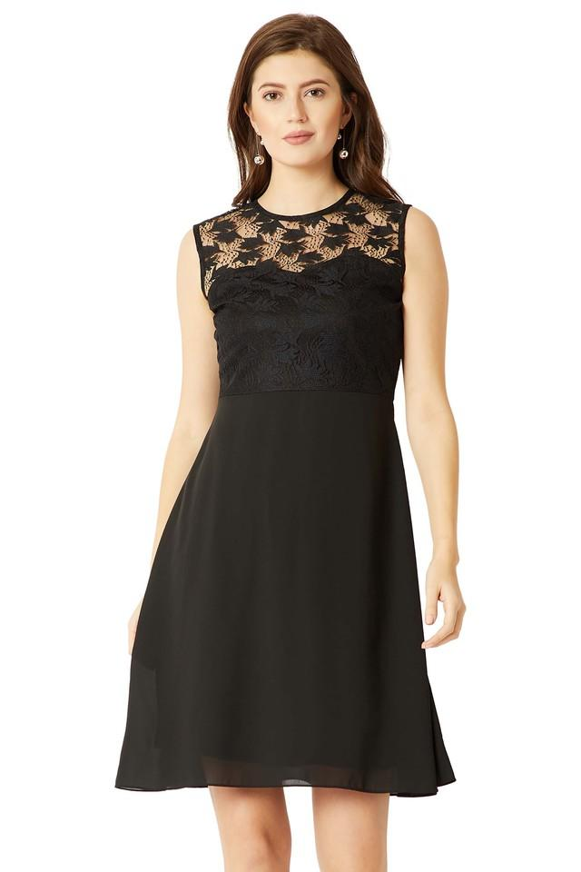 Womens Round Neck Mini Lace Skater Dress